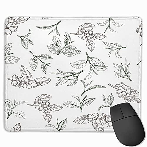 Gaming Mouse Pad, Premium-strukturierte Mouse Mat Pads, süßes Mousepad für Spieler, Büro- und Heimbeeren Brown Plant mit Blättern und Zweigen von Tee und Kaffee Green Bean Botanical