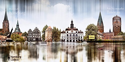 Artland Qualitätsbilder I Poster Kunstdruck Bilder 60 x 30 cm Städte Deutschland Digitale Kunst Blau A8BD Lüneburg Skyline Abstrakte Collage