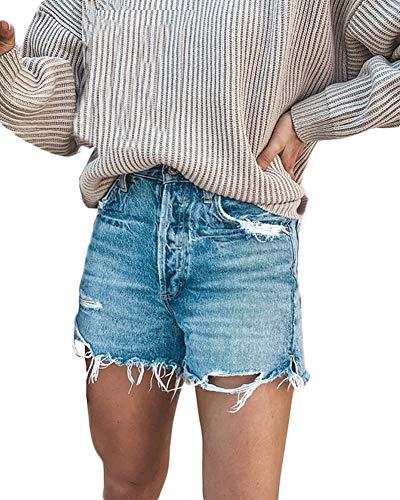 She Charm Pantalon Élégant Ripped Trou Court Femmes Mode Washed Denim Shorts,Bleu,L