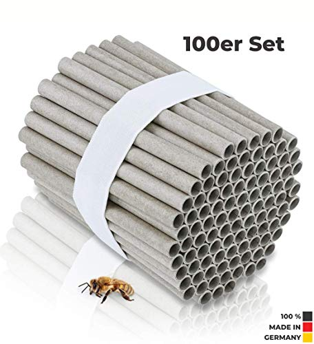 Beesy | 100 Stück Niströhren für Wildbienen Ø 8mm - zum selber Bauen für Insektenhotel und Bienenhotel - Pappröhrchen als Füllmaterial und Nisthilfe für Mauerbienen