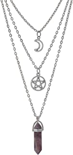 MJartoria Moon Pentagram Necklace Pentacle Chakra Charm Pendant 3 Multi Layer Alloy Chain Choker Necklace Set Gothic Jewelry