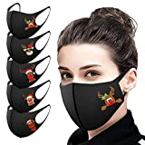 5PC Adults Face Protection Reusable Christmas Printed Face Bandanas Washable Breathable Dustproof Windproof with Elastic Earloops for Women Men Everyday Use