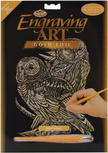 Royal & Langnickel GOLF13 - Engraving Art/Kratzbilder, DIN A4, Eulen, gold