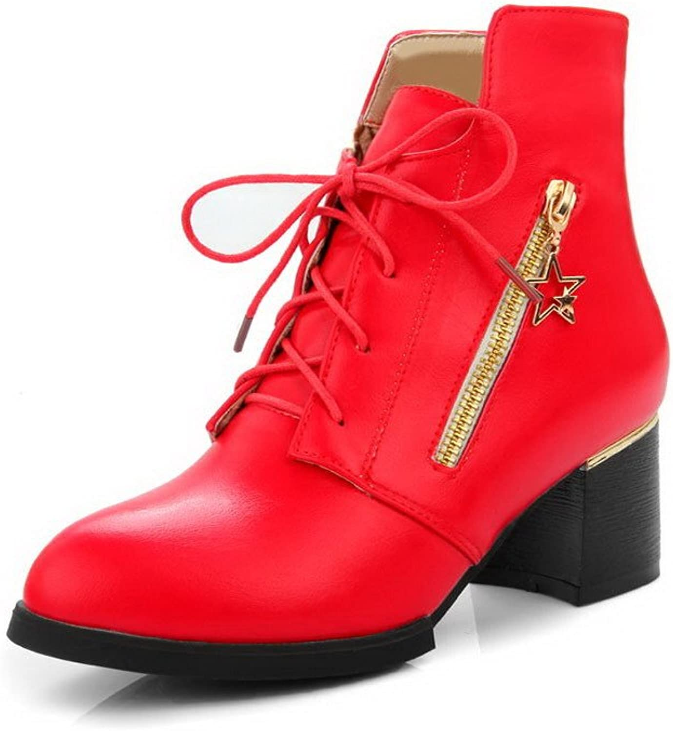 WeenFashion Women's Low Top Solid Lace up Pointed Closed Toe Kitten Heels Boots