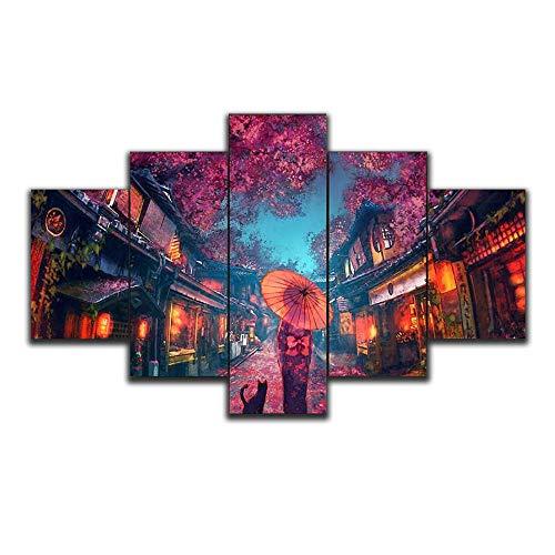 Myrdsio Kunstdrucke Gemälde 5 Teilig Leinwand Drucke,Wand Für Zuhause Malerei Wohnzimmer Wohnung Deko Modulare Bilder Japanische Anime-Stile Hd Gedruckt Poster,Mit Rahmen