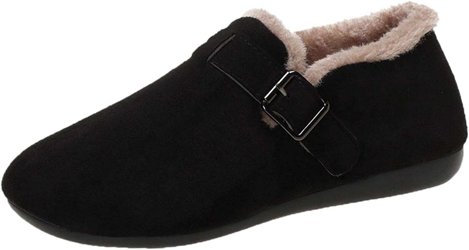 Women's Limited Special Price Warm Slip-Ons Thick Plush Shallow Sacramento Mall Lined Mouth Loafer Aut