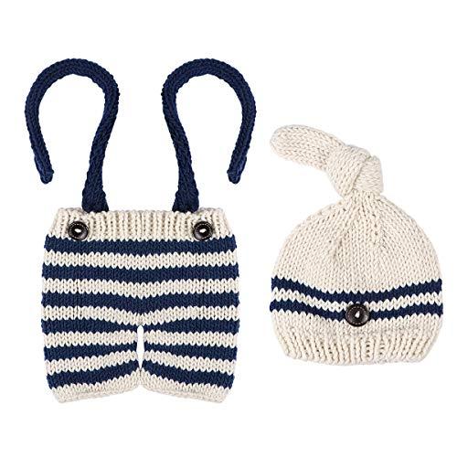 Toyvian Neugeborenes Baby Fotografie Requisiten Baby handgemachte Häkelarbeit gestrickte gestreifte Outfits