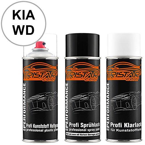 TRISTARcolor Autolack Spraydosen Set für Kunststoff Stoßstange für KIA WD Casa White/Carraraweiss Haftgrund Basislack Klarlack mit Weichmacher Sprühdose