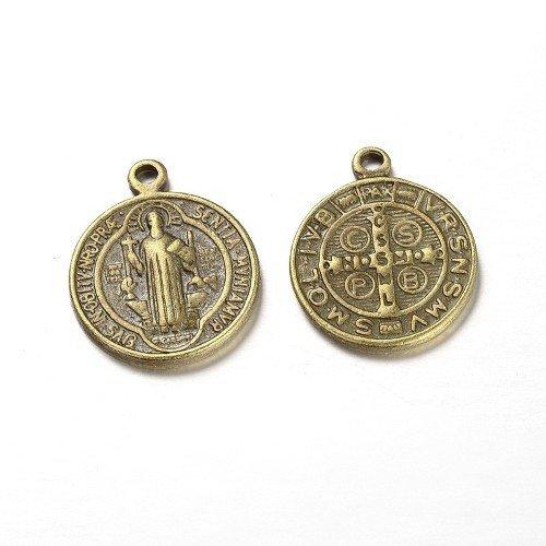 Charming Beads Tibetano Medaglia San Benedetto Ciondolo/Pendente Bronzo Antico 21mm Pacco di 10