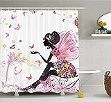 AdaCrazy Silhouette Abstraite Fille Rideau Douche Papillon Silhouette Abstraite Ailes Florales Robe Florale Printemps fée décoration Salle Bain Tissu Enduit serti Crochet 71x71 Pouces Blanc Rose