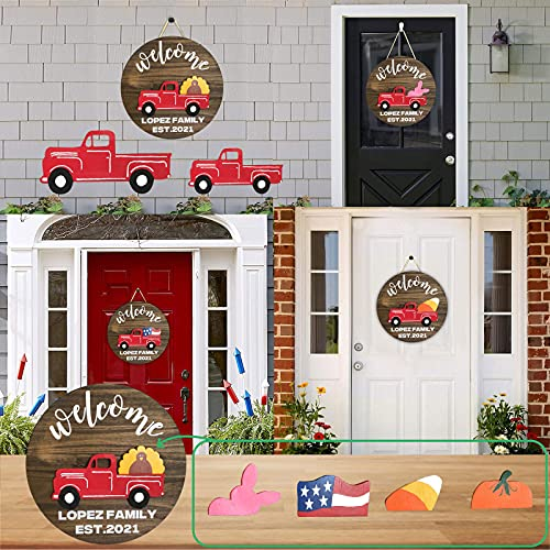 WakeDay Welcome Sign Front Door Hanger, Creative Craft DIY Gnome Interchangeable All Seasons Sign Deocrations Rustic Farmhouse Dwarf Car Hanging Ornaments Wooden with Holiday Accessories Best Gifts