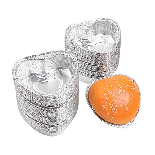 Trays 100 Stücke Aluminiumfolie Einmal Silber Mini Herzförmige Kuchen Backbecher Muffin Cup Kuchen Backen Tun Becher Liner