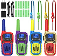 Rechargeable Walkie Talkies for Adults Kids, Portable Two Way Radios Long Range with NOAA 2 USB Chargers and 12 Batteries for Camping Hiking Outside Adventures