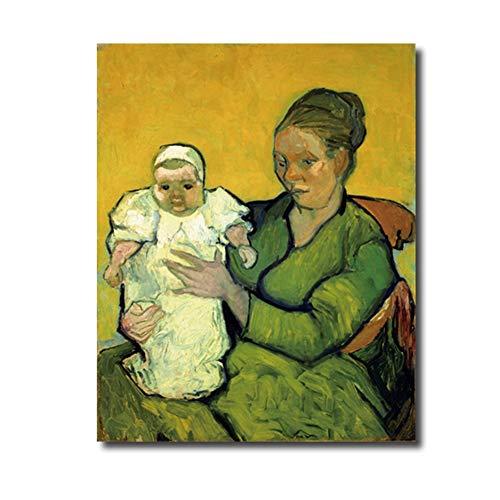 sjkkad Madame en Baby van Vincent van Gogh Poster druk canvas schilderij kalligrafie wooncultuur muurkunst schilderijen voor woonkamer - 50x70 cm geen lijst