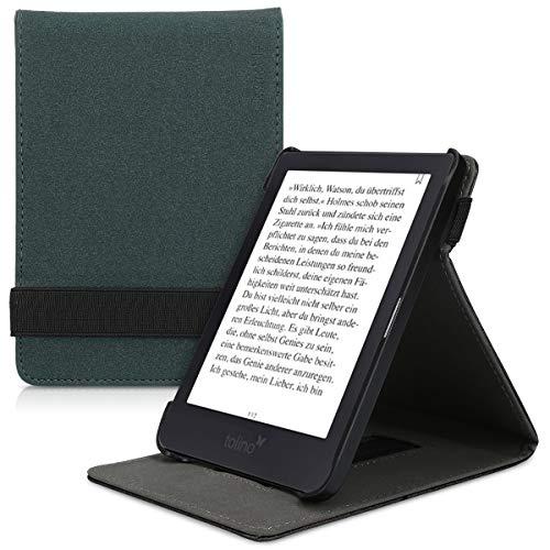 kwmobile Schutzhülle kompatibel mit Tolino Shine 3 - Hülle e-Reader mit Schlaufe Ständer - - Dunkelgrün