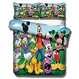 DFTY Disney Mickey & Minnie - Juego de ropa de cama reversible (1 funda de...