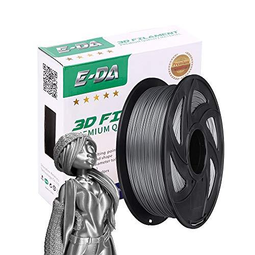 E-DA PLA+ Silk Filament 1.75mm 1Kg,Silk PLA+ 3D Printer Filament Suitable for Most 3D Printers (silk silver)