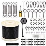 Wayska String Light Hanging Kit, Globe String Light Suspension Kit, 250Ft Stainless Steel Cable Light Guide Wire Rope with Turnbuckles and Hooks for Patio,Backyard Lighting Accessories