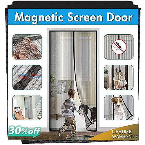 Magnetic Screen Door Cover IKSTAR Double Mesh Curtain with Full Frame...
