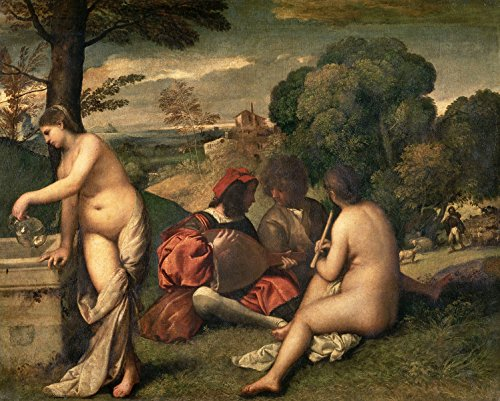 Giorgione - Pastoral Concert, Size 20x24 inch, Poster Art Print Wall décor