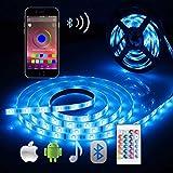 Bluetooth LED Streifen, ALED LIGHT 5050 Wasserdichtes 16.4Ft 5M 150 LED Stripes Licht Smart-Telefon Kontrolliertes RGB Lichtschläuche LED Lichtband...