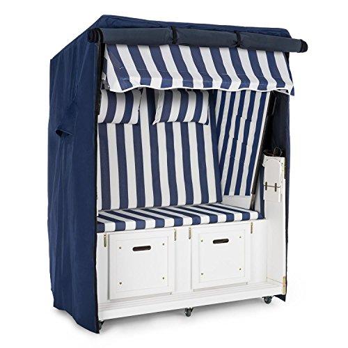 blumfeldt Hiddensee Strandkorb Set + Wetterschutzhülle + Bodenrollen (5-stufig absenkbare Haube, ausziehbare Fußstützen mit Polster, 2 Nackenkissen, Klapptische) blau-weiß