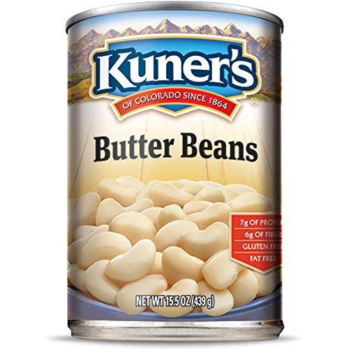 Kuner's • Canned Butter Beans (12 Pack), Vegan, Non-GMO, Natural Gluten-Free Large Lima Bean, Sourced and Packaged in the USA, 15 Ounce Can