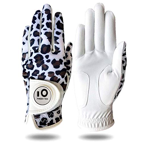 Womens Golf Glove with Ball Marker Rain Left Right Hand Leather Printed Pack, Ladies Golf Gloves All Weather Grip Breathable Soft Size Small Medium Large XL (Leopard, Small-Worn on Right Hand)