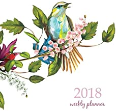 2018 Weekly Planner: Calendar Schedule Organizer Appointment Journal Notebook and Action day, nightingale on branches with leaves hand drawn watercolor art design (2018 Weekly Planners) (Volume 28)