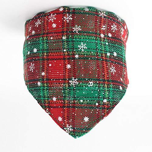 Ocamo hondenhalsband, Dog Collar - schattige kerstbowknot/speeksel handdoek klok kraag met veiligheidsgesp voor huisdieren katten dragen driehoekigdoek: kerstgroen XS
