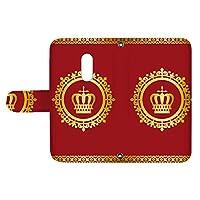 スマQ AQUOS zero2 SH-01M / SHV47 国内生産 カード スマホケース 手帳型 SHARP シャープ アクオス ゼロツー 【B.レッド】 王冠とレース シンプル ami_vd-0248