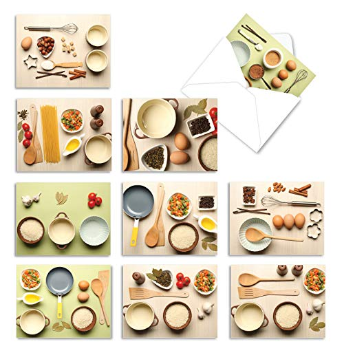 The Best Card Company - 10 Blank Food Note Cards Boxed (4 x 5.12 Inch) - All Occasion Assortment, Bulk Set - Culinary Cards M1733BN