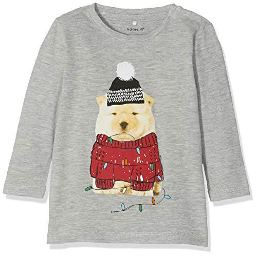 Name It Nbmrepo Ls Top T- T-Shirt À Manches Longues, Rose (Grey Melange Dawn Pink), 68 Bébé garçon