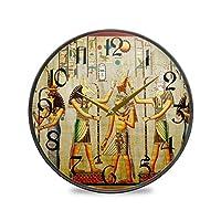9.5インチの丸い壁の時計カチカチ音をたてないサイレントバッテリー式オフィスキッチンベッドルーム家の装飾-エジプトのパターン