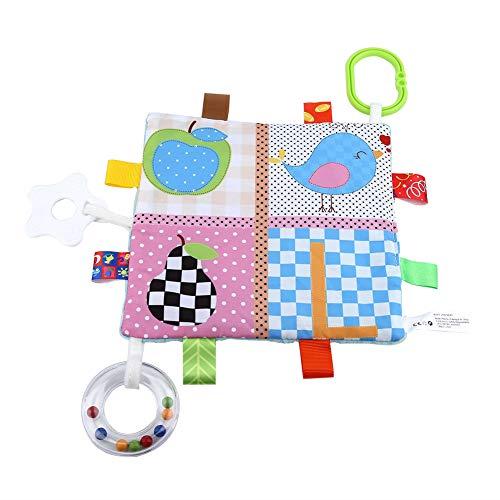Baby tröstende Taggies Decke Ultraweiches Quadrat Plüsch Baby beschwichtigen Handtücher Cute Cartoon Kinderkrankheiten Tücher Beruhigende Schnuller Sicherheitsdecken Handtuch mit Beißring(#2)