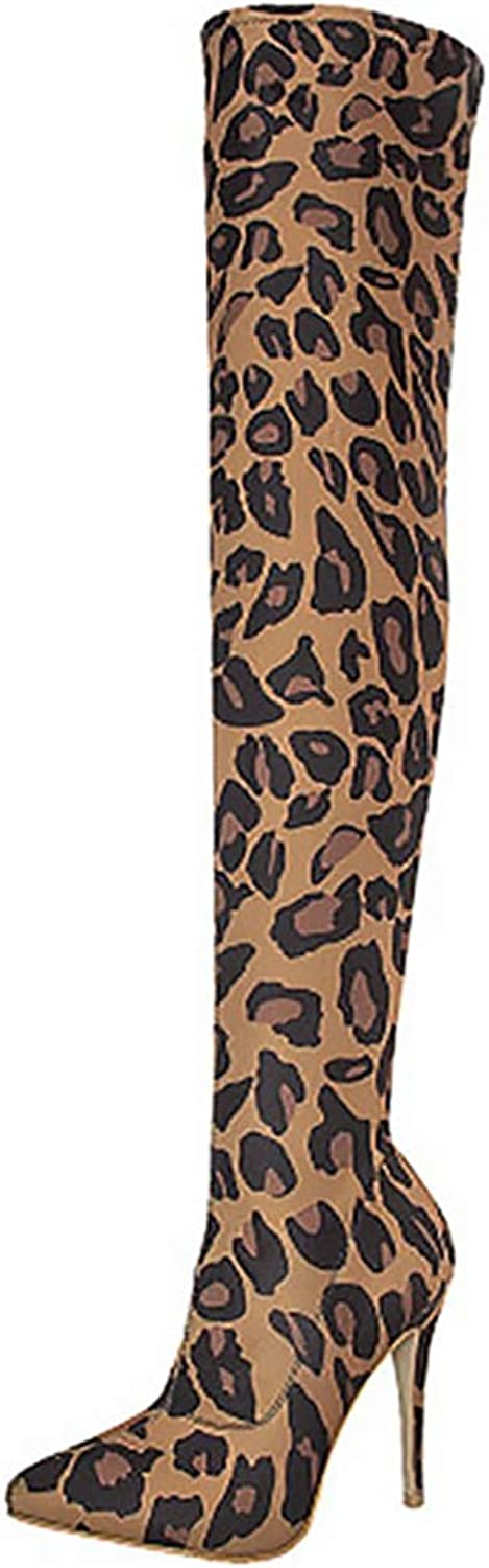 ASILETO Stretch Fabric Leopard Over The Knee Boots Pointed Toe Stiletto Heels Zipper US10 Winter Spring