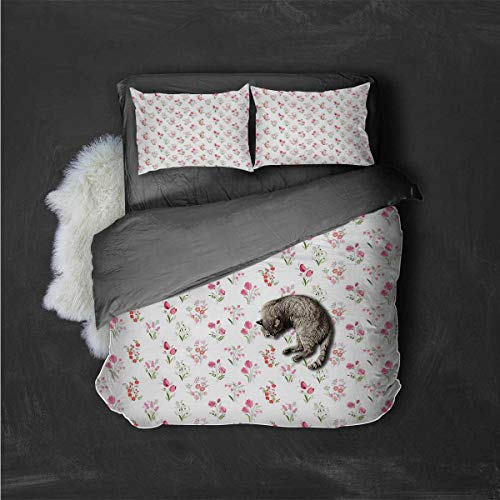 HELLOLEON Hotel Luxury Bed Linen Roses Tulips Snowdrops Polyester - Soft and Breathable (Full)