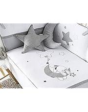pirulos 21013219 kołdra pikowana, ochraniacz i poduszka, motyw księżyca, 62 x 125 cm, biała i szara