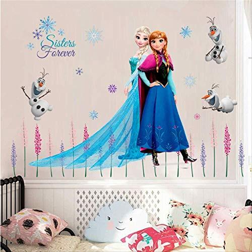 BAOWANG Wandtattoo Fototapete Elsa Königin Anna Prinzessin Anime Wandaufkleber Kinderzimmer Fußleiste Dekoration Cartoon Wandbild Kunst gefroren Filmplakat
