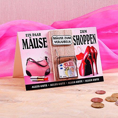 Klappkarte mit Mausefalle Geldgeschenkidee zum Geburtstag (Mäuse zum Shoppen 22202)