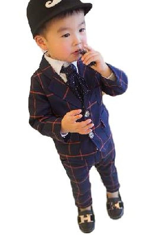(ボヌール) BONHEUR キッズ 子供服 フォーマル カジュアル スーツ 上下 2点 セット チェック 柄 おしゃれ ボーイズ (90cm,100cm,110cm)