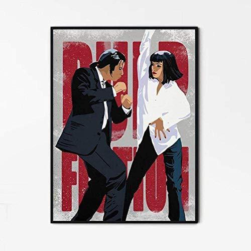 Imprimir En Lienzo 50x70cm Sin Marco Póster de personaje de película impreso pinturas de escena de baile hombres y mujeres bailando decoración moderna para sala de estar y dormitorio