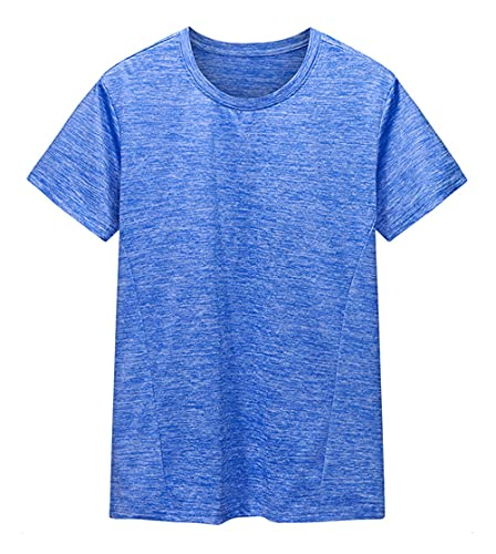 Camiseta Hombre Básica Deportiva Hombre Culturismo Cuello Redondo Deportiva Casual Manga Corta Ligera Cómoda Transpirable Hombre Camisa Deportiva Secado Rápido Hombre Tshirt E-Light Blue XL