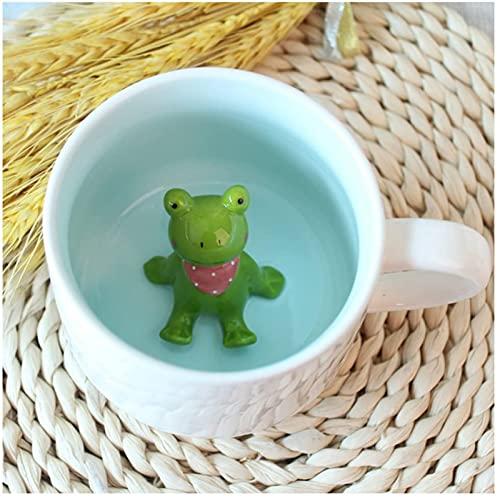 Smile Diary Tazza da caffè 3D Animale all'Interno 12 oz con Rana, Simpatico Cartone Animato Fatto a Mano in Ceramica Tazze Tazze da Mattina