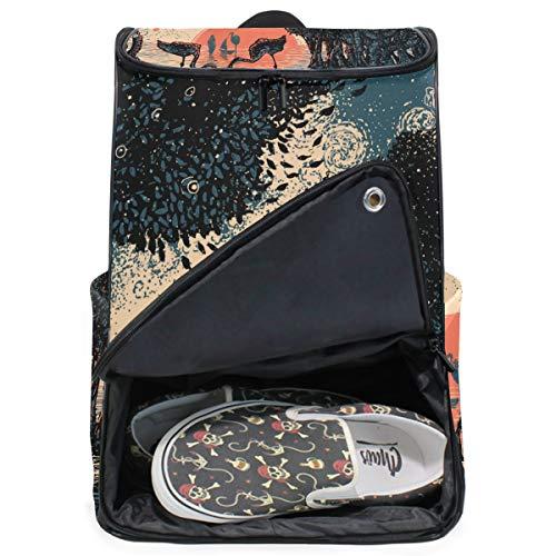 MONTOJ Sac à dos pour ordinateur portable Motif forêt de mangrove flamand coucher de soleil Taille XL