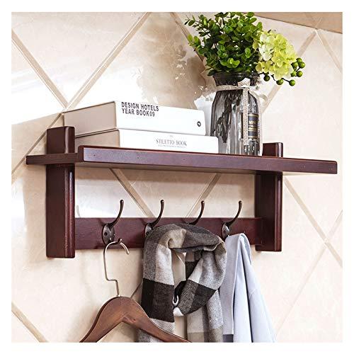 Perchero de pared de 66 cm, para colgar en la pared, con 4 ganchos de metal dobles para pasillo, baño, sala de estar, dormitorio (color: nogal, tamaño: 4 ganchos)