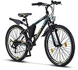 Licorne Bike Guide Premium Mountainbike in 26 Zoll - Fahrrad für Mädchen, Jungen, Herren und Damen - Shimano 21 Gang-Schaltung - Schwarz/Blau/Lime