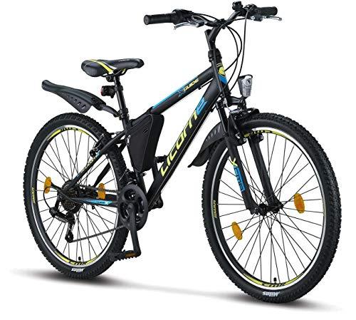 Licorne Bike Guide (Schwarz/Blau/Lime), 26 Zoll Mountainbike, MTB, geignet ab 150 cm, Shimano 21 Gang-Schaltung, Gabelfederung, Jungen-Fahrrad