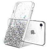 ULAK Funda iPhone SE 2020, Carcasa iPhone 7/8 Glitter Transparente Caso Brillante Bumper Suave Brillo Cuerpo Completo Cubierta Protectora para Apple iPhone 7/8/SE 2020 4,7 Pulgada - Plata Brillante
