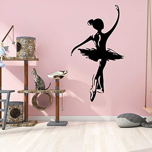 Wasserdichte Ballett Mädchen Wandaufkleber für Wohnkultur abnehmbare Tapete Kinderzimmer Dekor Wandbilder LILA L 57cm X 31cm